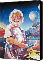 Singer Drawings Canvas Prints - Jerry garcia Live at the Mars Hotel Canvas Print by Joshua Morton