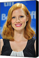 Wavy Hair Canvas Prints - Jessica Chastain At The Press Canvas Print by Everett