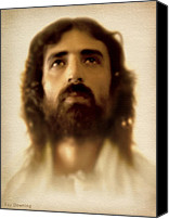 Face Digital Art Canvas Prints - Jesus in Glory Canvas Print by Ray Downing