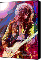 Gibson Guitar Canvas Prints - Jimmy Page Les Paul Gibson Canvas Print by David Lloyd Glover