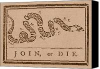 4th July Mixed Media Canvas Prints - Join or Die Canvas Print by War Is Hell Store