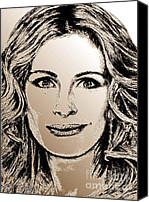 Famous Mixed Media Canvas Prints - Julia Roberts in 2008 Canvas Print by J McCombie