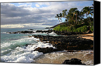 Hawaii Beach Art Canvas Prints - Ke Lei Mai La O Paako Oneloa Puu Olai Makena Maui Hawaii Canvas Print by Sharon Mau