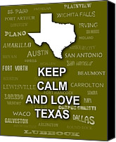 San Antonio Map Digital Art Canvas Prints - Keep Calm and Love Texas State Map City Typography Canvas Print by Keith Webber Jr