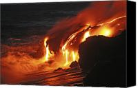 Volcanic Activity Canvas Prints - Kilauea Lava Flow Sea Entry, Big Canvas Print by Martin Rietze
