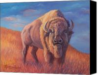 Bison Canvas Prints - King of the Prairie at Sunset Canvas Print by Theresa Paden