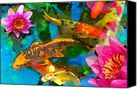 Water Lily Canvas Prints - Koi play Canvas Print by Gina Signore