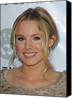 Gold Earrings Photo Canvas Prints - Kristen Bell At Arrivals For Artivist Canvas Print by Everett