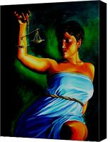 Justice Painting Canvas Prints - Lady Justice Canvas Print by Laura Pierre-Louis