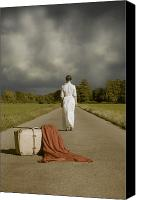 Away Canvas Prints - Lady On The Road Canvas Print by Joana Kruse