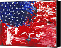 4th Mixed Media Canvas Prints - Land of Liberty Canvas Print by Luz Elena Aponte