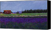 Pastel Landscape Canvas Prints - Lavender Farm Canvas Print by David Patterson