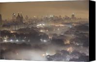 Skylines Canvas Prints - Light Pollution And Fog Combine To Blur Canvas Print by Jim Richardson