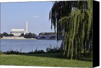 Washington Dc Canvas Prints - Lincoln Memorial and Washington Monument from the Potomac River Canvas Print by Brendan Reals