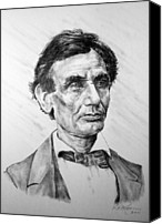 Abe Lincoln Drawings Canvas Prints - Lincoln Canvas Print by Roy Kaelin