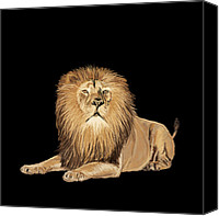 Animal Pastels Canvas Prints - Lion painting Canvas Print by Setsiri Silapasuwanchai