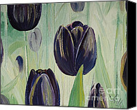 Tulip Stretched Canvas Prints - Little Black Dress Canvas Print by Alla Dickson