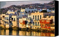 Paint Canvas Prints - Little Venice in Mykonos island Canvas Print by George Atsametakis