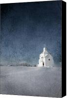 Winter Posters Canvas Prints - Little White Church Canvas Print by Larysa Luciw
