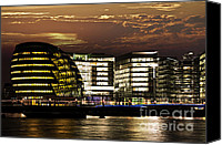 City Hall Canvas Prints - London city hall at night Canvas Print by Elena Elisseeva