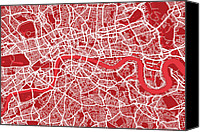 Capital City Canvas Prints - London Map Art Red Canvas Print by Michael Tompsett