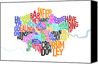 Cloud Canvas Prints - London UK Text Map Canvas Print by Michael Tompsett