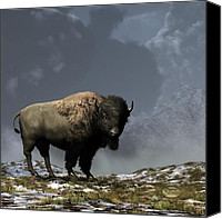 Remington Canvas Prints - Lonely Bison Canvas Print by Daniel Eskridge
