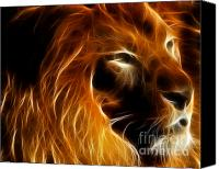 Lion Digital Art Canvas Prints - Lord Of The Jungle Canvas Print by Wingsdomain Art and Photography
