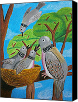 Black Family Pastels Canvas Prints - Love and Dove Canvas Print by Adam Wai Hou