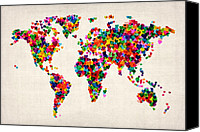 Map Art Digital Art Canvas Prints - Love Hearts Map of the World Map Canvas Print by Michael Tompsett