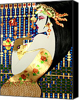 Gold Glove Canvas Prints - MA BELLE SALOPE CHINOISE No.13 Canvas Print by Dulcie Dee