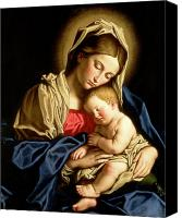 Christian Canvas Prints - Madonna and Child Canvas Print by Il Sassoferrato
