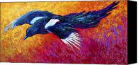 Marion Rose Canvas Prints - Magpie In Flight Canvas Print by Marion Rose