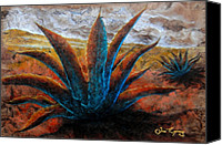 Handmade Paper Canvas Prints - Maguey Canvas Print by Juan Jose Espinoza