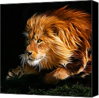 Lion Digital Art Canvas Prints - Male Lion Fractal Canvas Print by Julie L Hoddinott