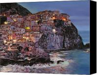Oil On Canvas Canvas Prints - Manarola at dusk Canvas Print by Guido Borelli