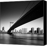 Bw Canvas Prints - Manhattan Bridge Canvas Print by Nina Papiorek