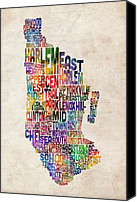 Cities Digital Art Canvas Prints - Manhattan New York Typographic Map Canvas Print by Michael Tompsett