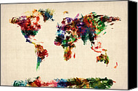 Map Of The World Digital Art Canvas Prints - Map of the World Map Abstract Painting Canvas Print by Michael Tompsett