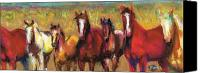 Horse Drawings Canvas Prints - Mares and Foals Canvas Print by Frances Marino
