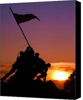 Flag Canvas Prints - Marine Corps Memorial Canvas Print by Mitch Cat