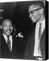 Malcolm X Canvas Prints - Martin Luther King Jr., And Malcolm X Canvas Print by Everett