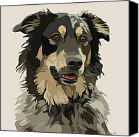 Pet Portrait Digital Art Canvas Prints - Marvelous Mix II Canvas Print by Kris Hackleman