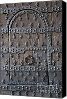 Brussels Canvas Prints - Medieval Door Canvas Print by Carol Groenen