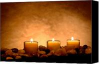 Pebbles Canvas Prints - Meditation Candles Canvas Print by Olivier Le Queinec