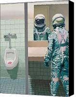 Bathroom Canvas Prints - Mens Room Canvas Print by Scott Listfield