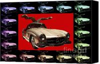 Import Cars Canvas Prints - Mercedes 300SL Gullwing . Front Angle Artwork Canvas Print by Wingsdomain Art and Photography