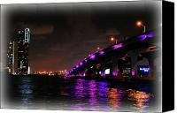 Florida Bridges Canvas Prints - Miami Skyline at Night 2 Canvas Print by Amanda Vouglas