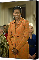 Michelle-obama Canvas Prints - Michelle Obama At A Public Appearance Canvas Print by Everett