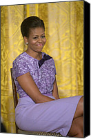 Michelle Obama Photo Canvas Prints - Michelle Obama Wearing An Anne Klein Canvas Print by Everett